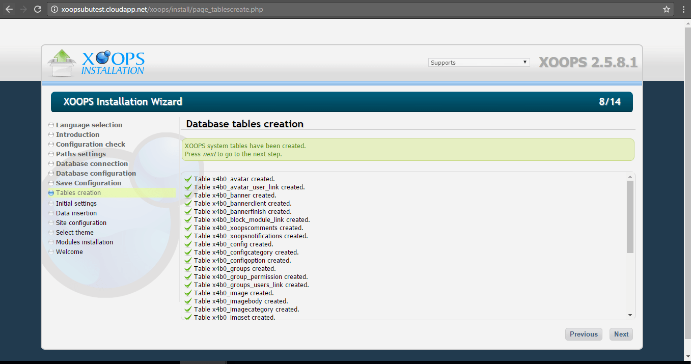 xoops-installation-wizard-database-table-creation
